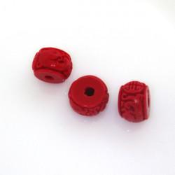 Vyřezávané korále, červené,...